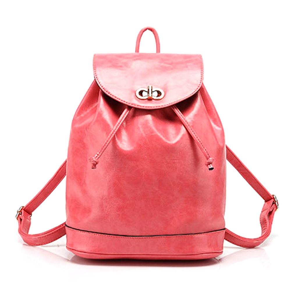 Casual Drawstring Hardware School Travel Bucket Bag Backpack