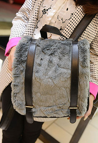 Chic Stylish Flocky Spliced Backpack Bag