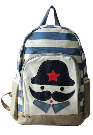 Adorable Contrast Color Stripe Print Cartoon Mustache Print Backpack