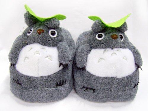 Soft Gray Totoro Plush Slippers
