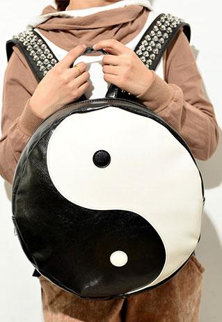 Black and White Taiji Studded Backpack School Bag