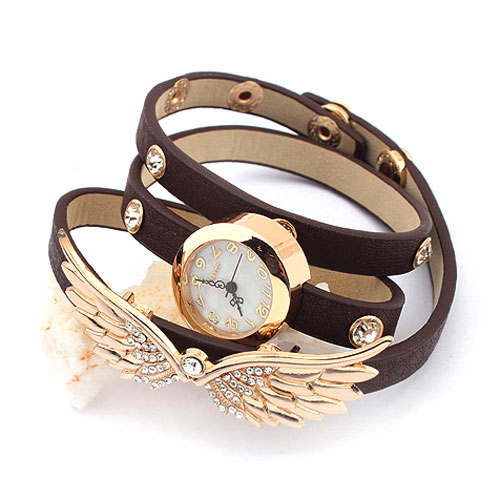 33% OFF, Gold Tone Wing Rhinestones Chic Bracelet Wrist Watch, Drop from $29.99 to $19.99, Free Shipping by Onfancy.com