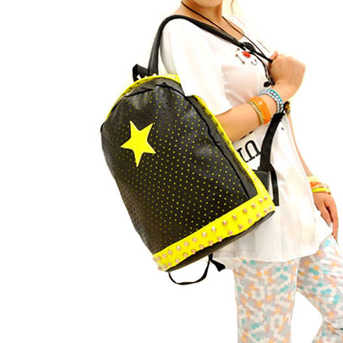 Chic Mixing Candy Color Rivet Star Perforated Backpack