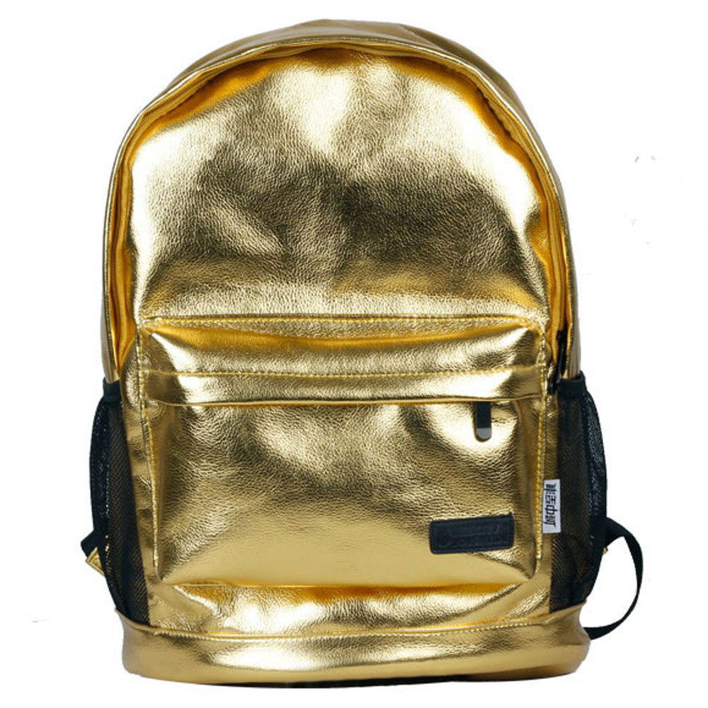 Bling Solid Silver / Gold School Travel Gym Backpack Schoolbag