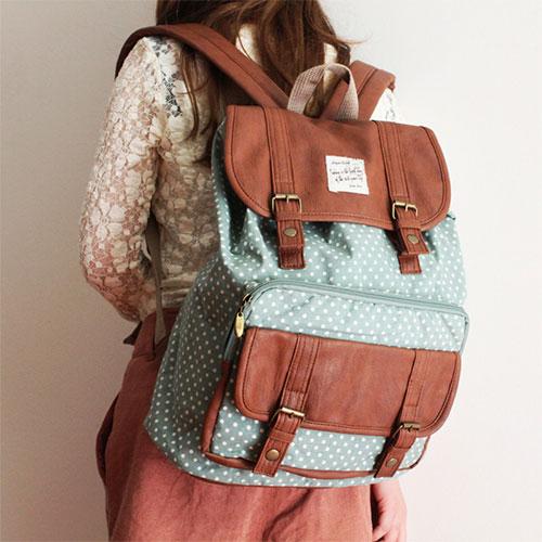 British Style Sweet Polka-dot Print Leisure Backpack