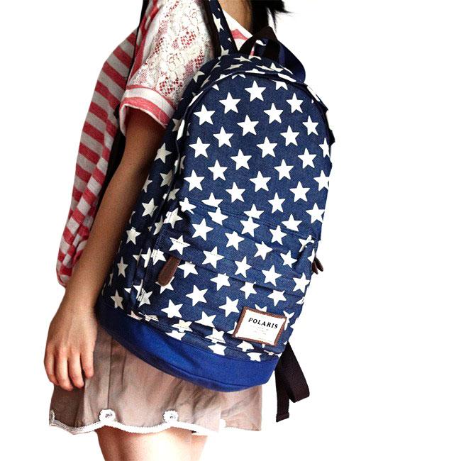 Classical European Style Star Print Denim Backpack