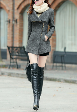 23% OFF, Fashion Lapel Zipper Slim Fit Woolen Coat, $53.99+Free Shipping by Onfancy.com