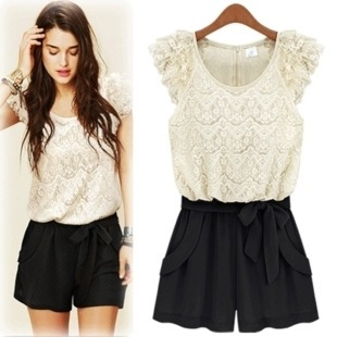 Sweet Lace Spliced Bowknot Contrast Color Jumpers