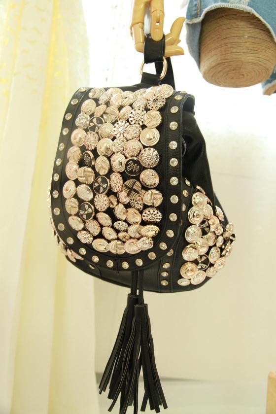 Bling Rivet Multi-button Tassel Rhinestone Shoulder Bag Backpack
